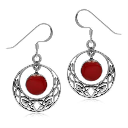 Dangle Created Red Coral 925 Sterling Silver Celtic Knot Circle Hook Earrings