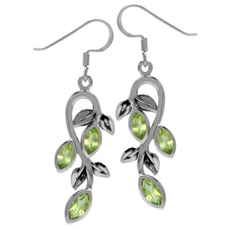 1.86ct. Natural Marquise Shape Peridot 925 Sterling Silver Leaf Vintage Inspired Dangle Earrings