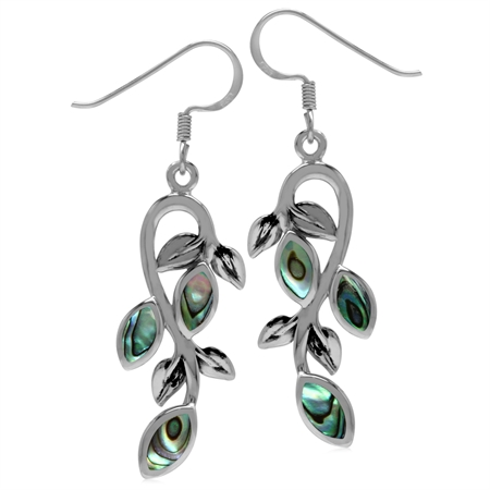 Marquise Shape Abalone/Paua Shell Inlay 925 Sterling Silver Leaf Vintage Inspired Dangle Earrings