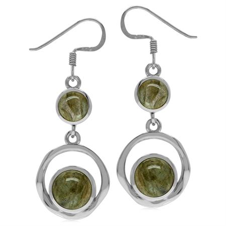 Round Shape Labradorite 925 Sterling Silver Textured Hoop Dangle Earrings