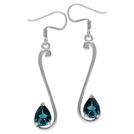 2.56ct. 8x6MM Genuine Pear Shape London Blue Topaz 925 Sterling Silver Musical Note Dangle Earrings