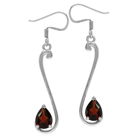 2.48ct. 8x6MM Natural Pear Shape Garnet 925 Sterling Silver Musical Note Dangle Hook Earrings
