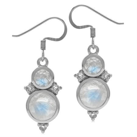Natural Round Shape Moonstone & White Topaz 925 Sterling Silver Dangle Hook Earrings