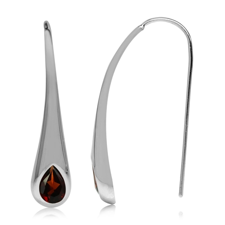 1.54ct. Natural Garnet White Gold Plated 925 Sterling Silver Modern Style Hook Earrings