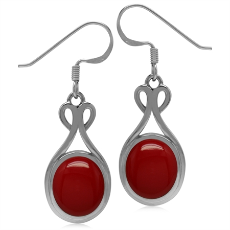 11x9MM Created Oval Shape Red Coral 925 Sterling Silver Casual Dangle Hook Earrings