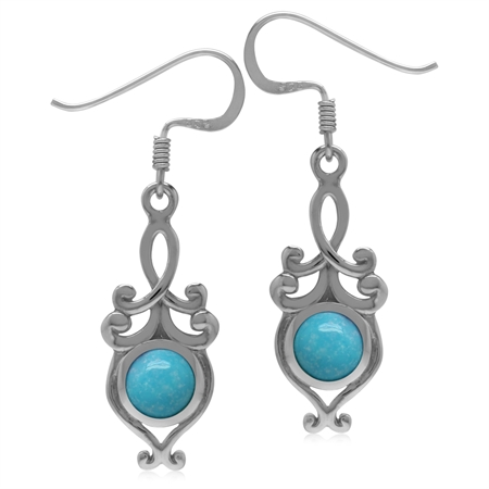 6MM Genuine Round Shape Arizona Turquoise 925 Sterling Silver Victorian Swirl Style Dangle Earrings