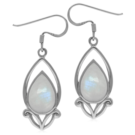12x8MM Natural Pear Shape Moonstone 925 Sterling Silver Victorian Style Drop Dangle Hook Earrings