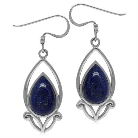12x8MM Genuine Pear Shape Blue Lapis 925 Sterling Silver Victorian Style Drop Dangle Hook Earrings
