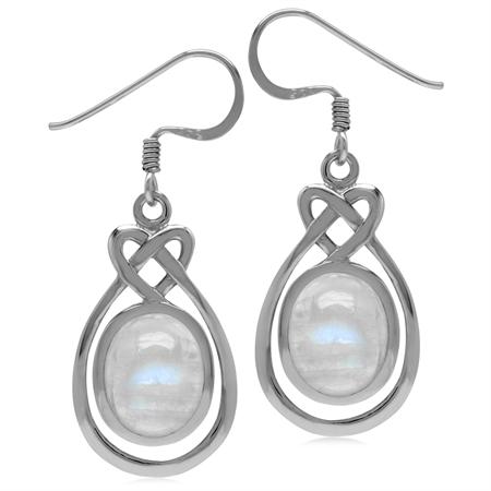 10x8MM Natural Oval Shape Moonstone 925 Sterling Silver Celtic Heart Knot Dangle Hook Earrings
