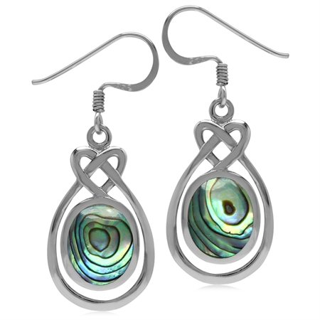 10x8MM Oval Shape Abalone/Paua Shell Inlay 925 Sterling Silver Celtic Heart Knot Dangle Earrings