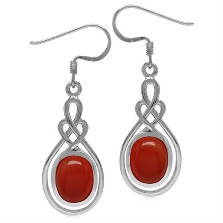 10x8MM Oval Shape Carnelian 925 Sterling Silver Celtic Heart Knot Dangle Hook Earrings