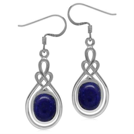 10x8MM Genuine Oval Shape Blue Lapis 925 Sterling Silver Celtic Heart Knot Dangle Hook Earrings