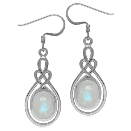 10x8MM Natural Oval Shape Moonstone 925 Sterling Silver Celtic Heart Knot Dangle Hook Earrings