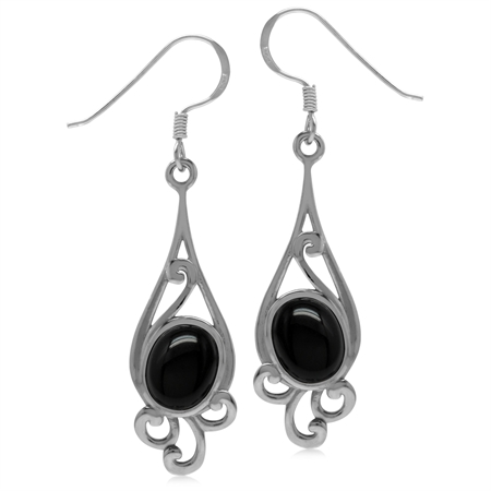 9x7MM Genuine Oval Shape Black Onyx 925 Sterling Silver Swirl Drop Dangle Hook Earrings