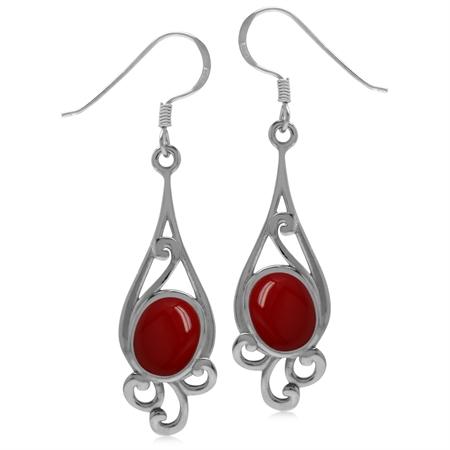 9x7MM Created Oval Shape Red Coral 925 Sterling Silver Swirl Drop Dangle Hook Earrings
