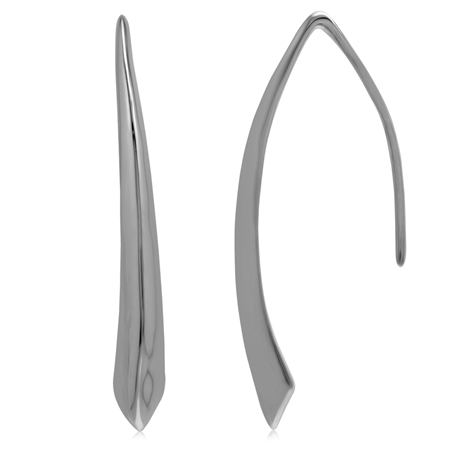 White Gold Plated 925 Sterling Silver Modern Style Hook Earrings