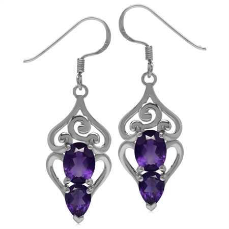 3.56ct. Natural African Amethyst 925 Sterling Silver Swirl & Spiral Dangle Hook Earrings