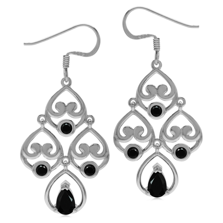 1.6ct. Natural Black Spinel 925 Sterling Silver Heart Victorian Style Chandelier Dangle Earrings