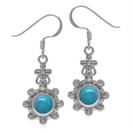 6MM Genuine Round Shape Arizona Turquoise 925 Sterling Silver Flower Dangle Hook Earrings