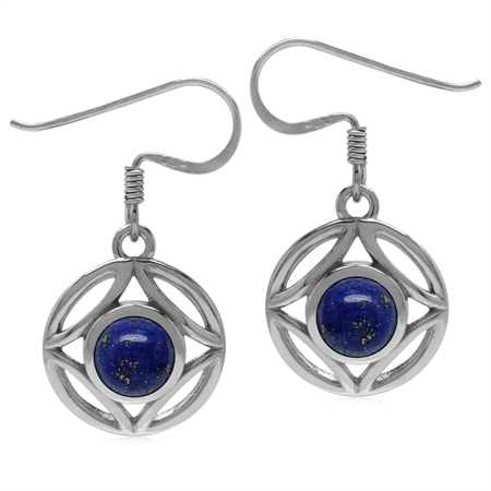 6MM Genuine Round Shape Blue Lapis 925 Sterling Silver Filigree Dangle Hook Earrings