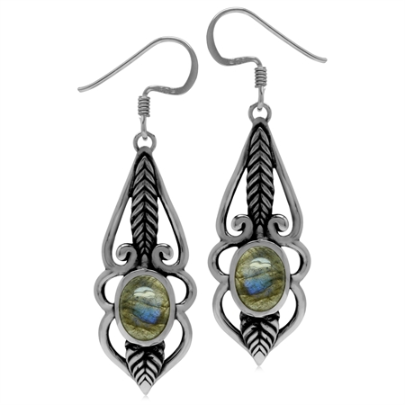 8x6MM Oval Shape Labradorite 925 Sterling Silver Leaf Vintage Inspired Dangle Hook Earrings