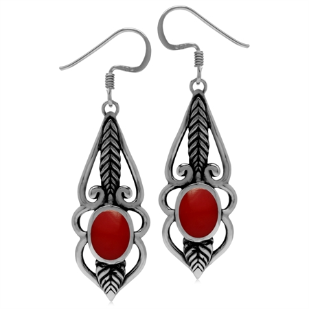 8x6MM Created Oval Shape Red Coral 925 Sterling Silver Leaf Vintage Inspired Dangle Hook Earrings