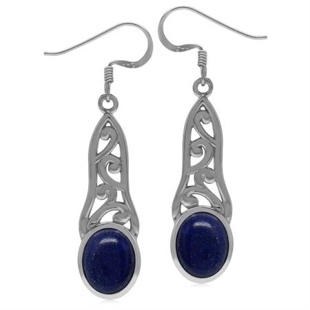 10x8MM Genuine Oval Shape Blue Lapis 925 Sterling Silver Filigree Dangle Hook Earrings
