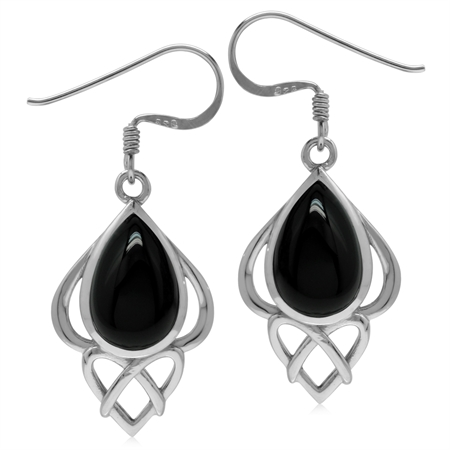 Genuine Black Onyx Sterling Silver Heart Knot Celtic Inspired Dangle Earrings