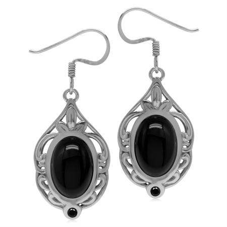 Genuine Black Onyx & Spinel Sterling Silver Southwest Inspired Drop Dangle Earrings