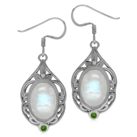 Rainbow Moonstone & Chrome Diopside Sterling Silver Southwest Inspired Drop Dangle Earrings