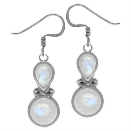 Genuine Rainbow Moonstone Sterling Silver Victorian Inspired Dangle Earrings