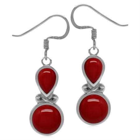 Created Red Coral Sterling Silver Victorian Inspired Dangle Earrings