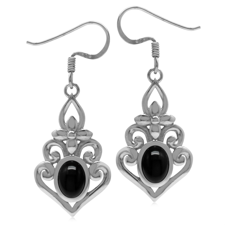 Genuine Black Onyx 925 Sterling Silver Victorian Inspired Chandelier Dangle Earrings
