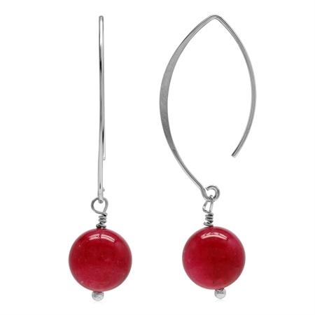 Genuine Pink Agate Bead Ball 925 Sterling Silver Ear Wire Hook Dangle Earrings