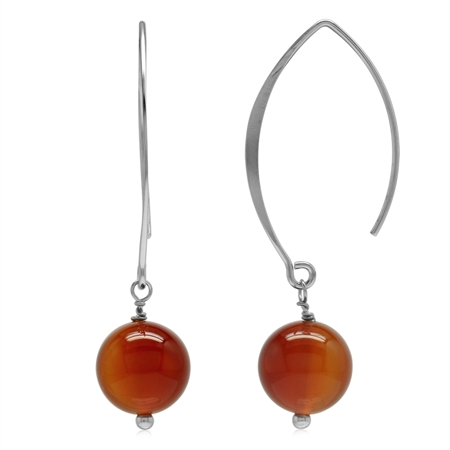Genuine Orange Agate Bead Ball 925 Sterling Silver Ear Wire Hook Dangle Earrings