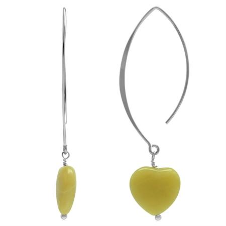 Genuine Lemon Agate Heart 925 Sterling Silver Ear Wire Hook Dangle Earrings