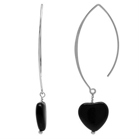 Genuine Black Onyx Heart 925 Sterling Silver Ear Wire Hook Dangle Earrings