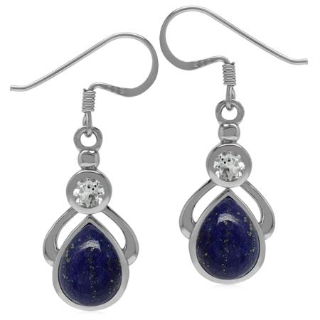 Genuine Lapis Lazuli & Topaz 925 Sterling Silver Drop Dangle Earrings