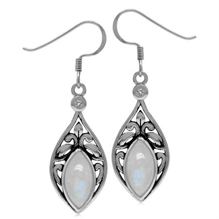 Genuine Rainbow Moonstone & Topaz 925 Sterling Silver Scroll/Filigree Drop Dangle Earrings