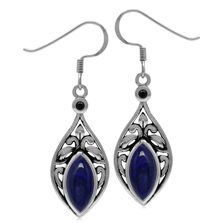 Genuine Lapis Lazuli & Spinel 925 Sterling Silver Scroll/Filigree Drop Dangle Earrings