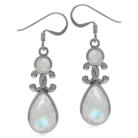 Genuine Rainbow Moonstone 925 Sterling Silver Victorian Inspired Drop Dangle Earrings