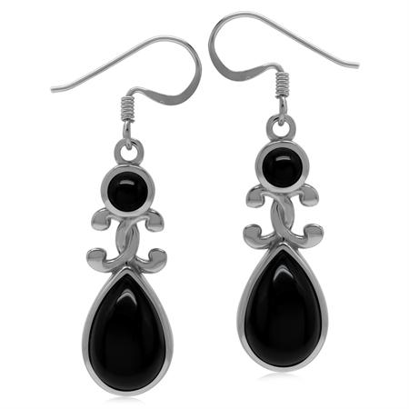 Genuine Black Onyx 925 Sterling Silver Victorian Inspired Drop Dangle Earrings