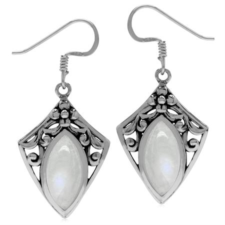 Natural Moonstone 925 Sterling Silver Filigree Shield Shape Drop Earrings