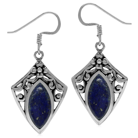 Natural Blue Lapis 925 Sterling Silver Filigree Shield Shape Drop Earrings
