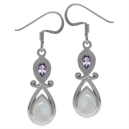 Genuine Rainbow Moonstone & Amethyst 925 Sterling Silver Victorian Inspired Dangle Earrings