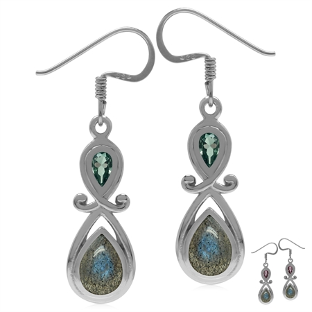 Genuine Labradorite & Synthetic Color Change Alexandrite 925 Sterling Silver Dangle Earrings