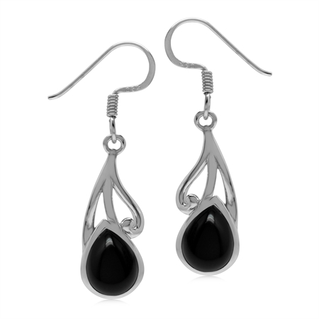 Natural 9x7 MM Black Onyx 925 Sterling Silver Contemporary Swirl Dangle Hook Earrings