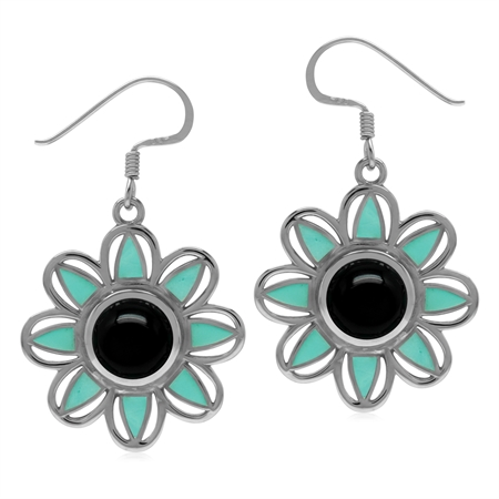 Genuine Onyx & Created Turquoise 925 Sterling Silver Boho Flower Dangle Earrings
