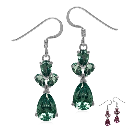 4.5 CT Created Color Change Alexandrite 925 Sterling Silver Evening Dangle Earrings