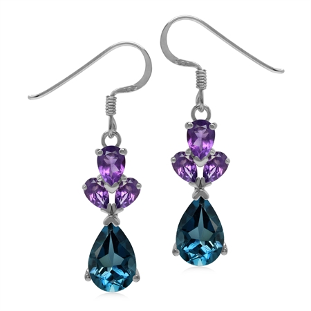 4.3 CT London Blue Topaz and Amethyst 925 Sterling Silver Evening Dangle Earrings